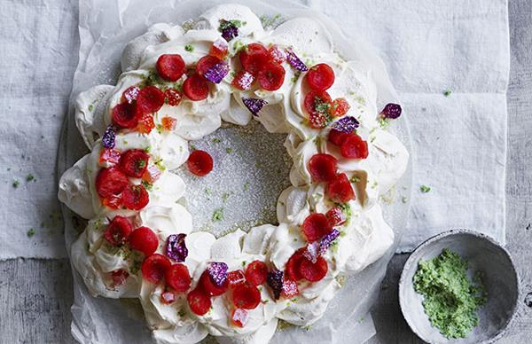 Watermelon-rose pavlova wreath