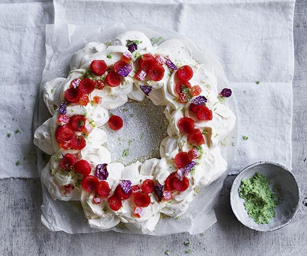Watermelon-rose pavlova wreath