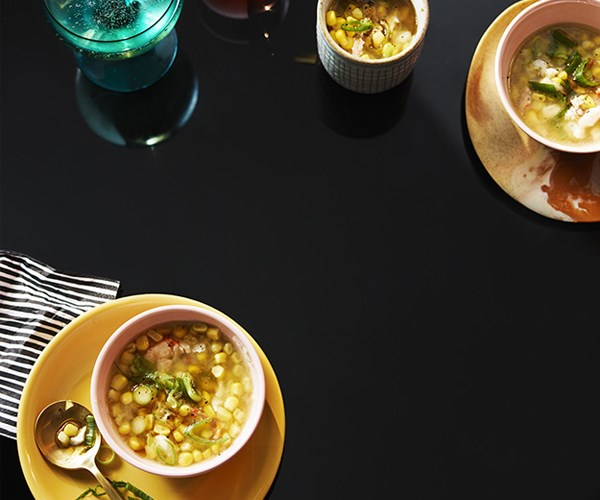 Corn, ginger and crab soup