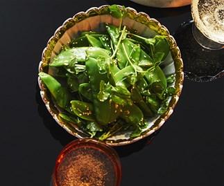 Snow pea salad with sesame dressing