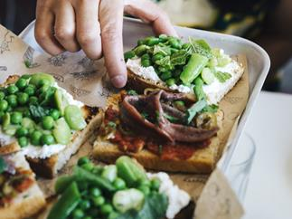 Peas, beans, ricotta and mint bruschetta