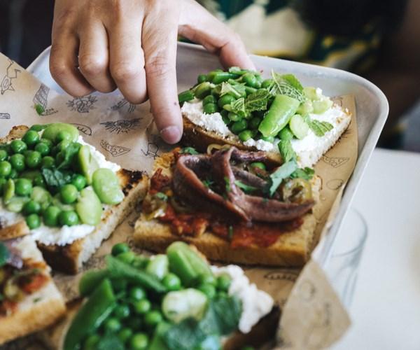 "[Pinbone's peas, beans, ricotta and mint bruschetta](http://www.gourmettraveller.com.au/recipes/chefs-recipes/peas-beans-ricotta-and-mint-bruschetta-15890|target=""_blank"")"