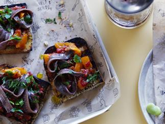 Anchovy and tomato bruschetta