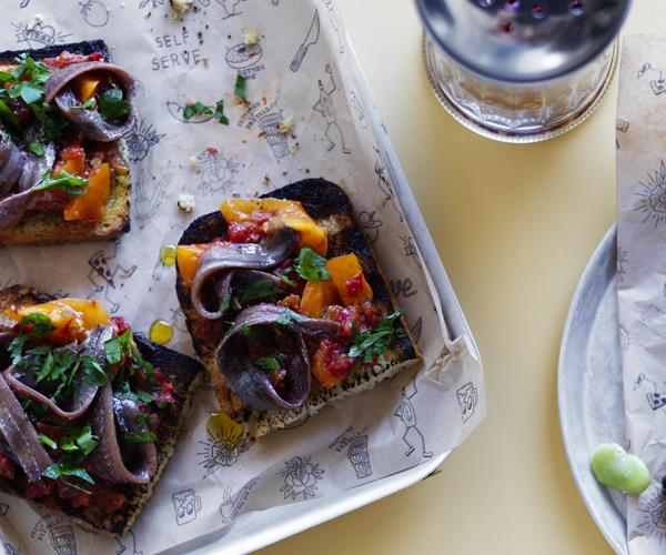 "[Pinbone's anchovy and tomato bruschetta](http://www.gourmettraveller.com.au/recipes/chefs-recipes/anchovy-and-tomato-bruschetta-15900|target=""_blank"")"