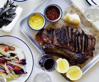 Rib-eye steak with chilli sauce