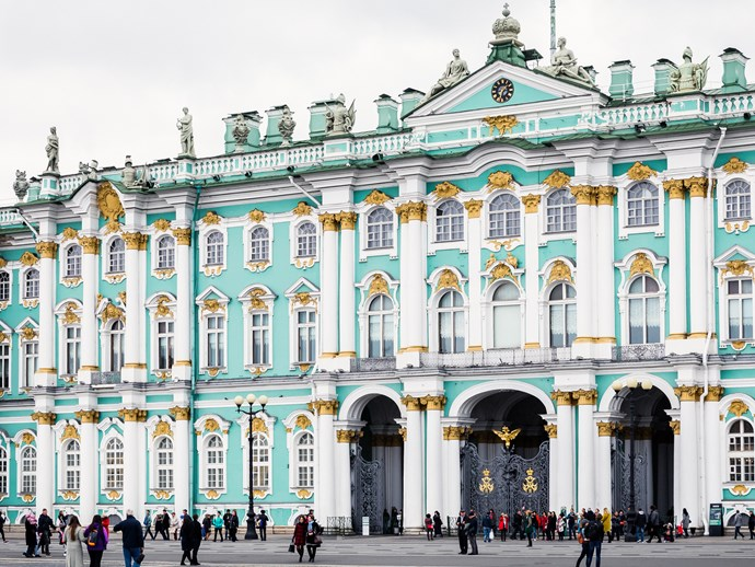 The Winter Palace, Saint Petersburg is one of many sights seen on a 13-day river cruise through the heart of Russia.