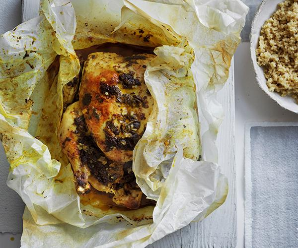 Spiced chicken en papillote with preserved lemon