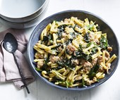 Casarecce with pork sausage, cavolo nero and chilli