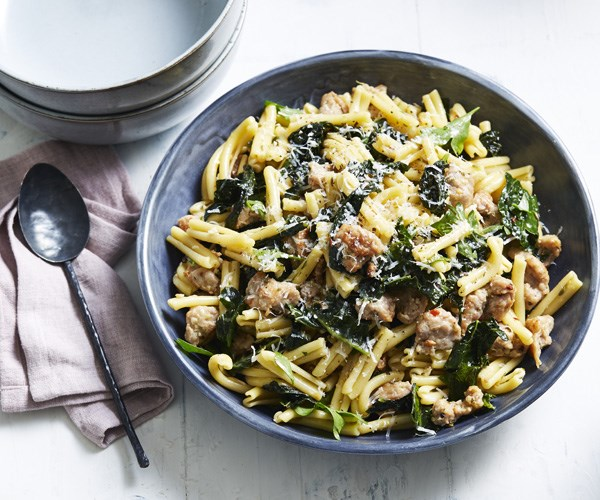 "[Casarecce with pork sausage, cavolo nero and chilli](https://www.gourmettraveller.com.au/recipes/fast-recipes/casarecce-with-pork-sausage-cavolo-nero-and-chilli-15922|target=""_blank"")"