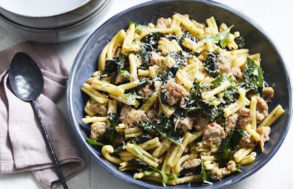 Casarecce with pork sausage, cavolo nero and chilli