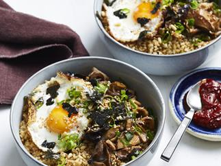 Mushroom and pine nut brown rice bowl