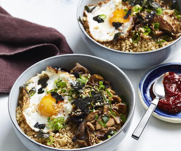 Mushroom and pine nut brown rice bowl