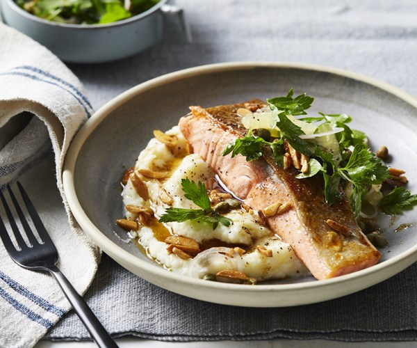 Pan-fried ocean trout with cauliflower, almonds and brown butter