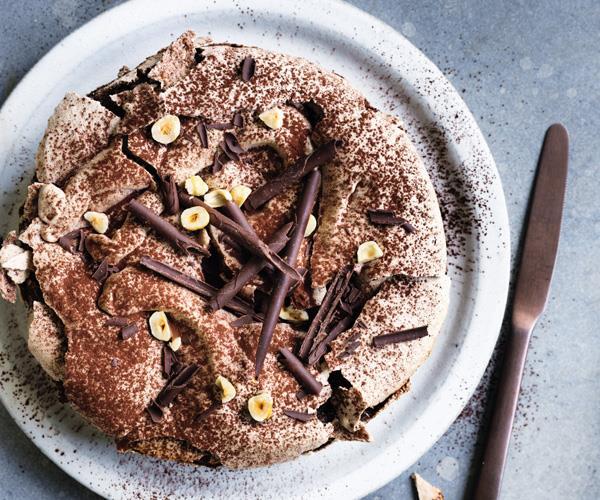 Chocolate-hazelnut meringue cake