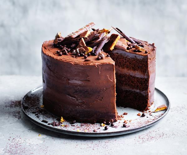 Salted chocolate layer cake with whipped ganache