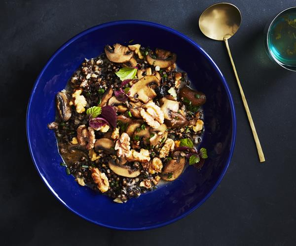 Miso-glazed mushrooms with walnuts and black barley