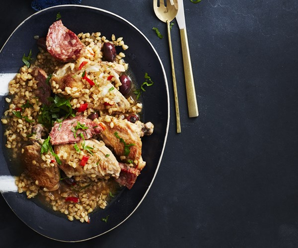 Chicken with barley, olives and chilli