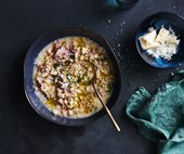 Farro, white bean and smoked ham soup