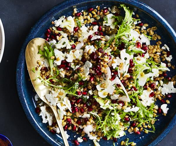 Freekeh and shaved cauliflower salad with herb dressing