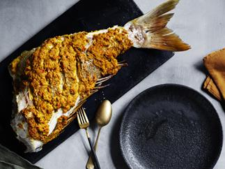 Whole snapper roasted with curry flavours