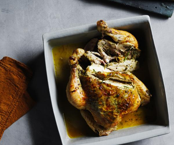 "**[Roast chicken with preserved lemon and herbs](https://www.gourmettraveller.com.au/recipes/chefs-recipes/roast-chicken-preserved-lemon-recipe-16865|target=""_blank"")**"