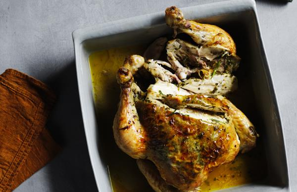 Roast chicken with tarragon, garlic and lemon