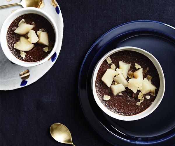 Dark chocolate pots de crème with ginger pear