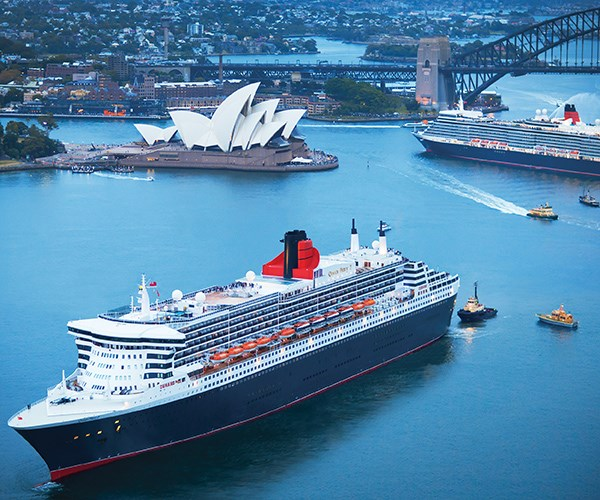 Cunard's Queen Mary 2 and Queen Elizabeth in Sydney Harbour.