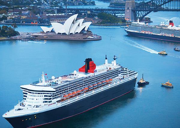 Cunard's Queen Mary 2 and Queen Elizabeth in Sydney Harbour.