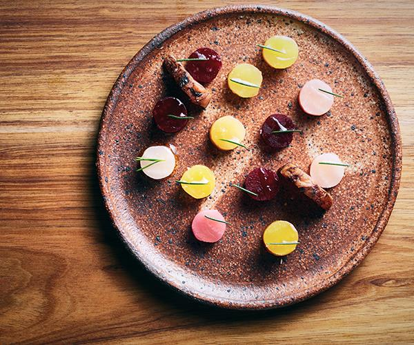 Beetroots with Geraldton wax at Matilda 159 Domain, Scott Pickett's new restaurant in Melbourne.