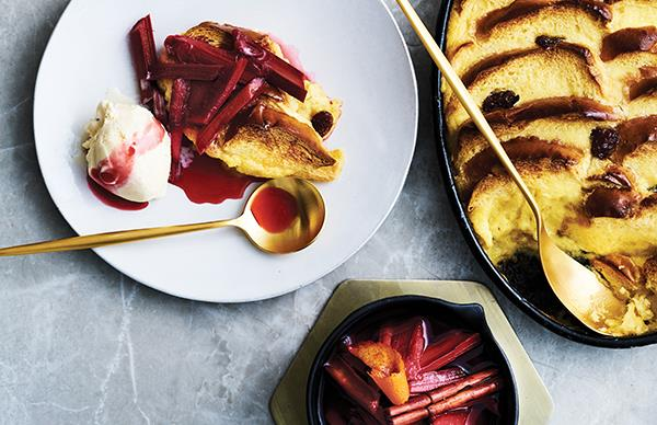 Vincent's bread and butter pudding with rhubarb compote