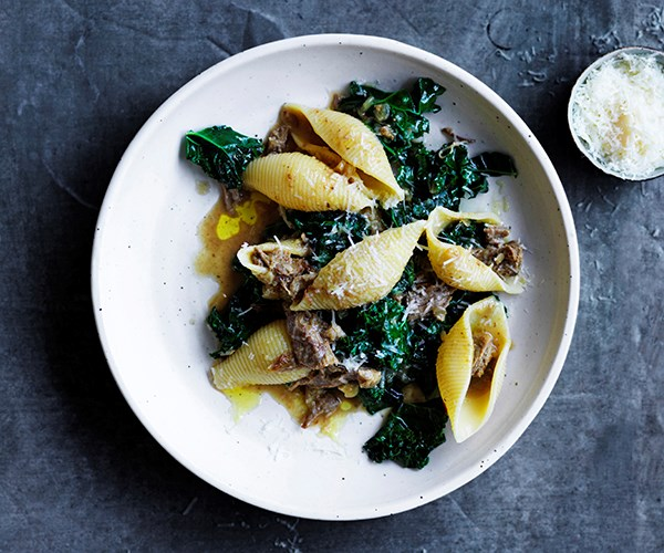 Conchiglione with ragù bianco, anchovies and wilted kale