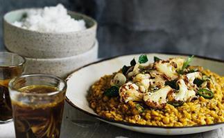 Dhal with crisp cauliflower and rasam