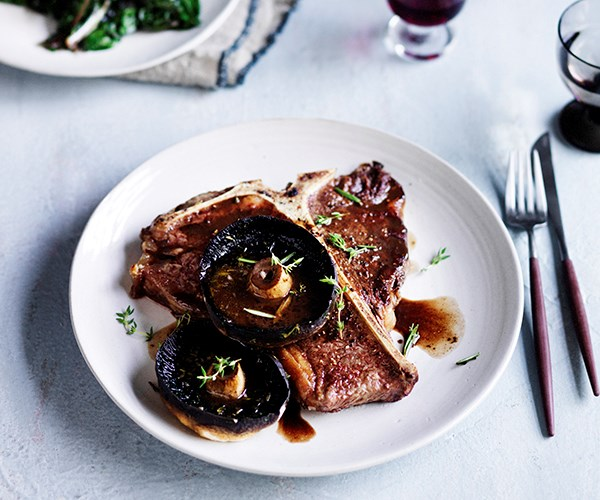 T-bones with roast mushrooms, red wine and rosemary