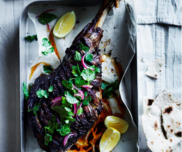 Shawarma-spiced roast lamb leg with beetroot sauce