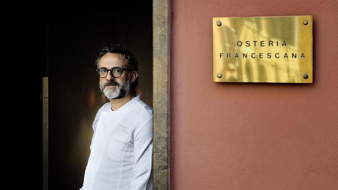 Massimo Bottura outside Osteria Francescana, ranked number one on The World's 50 Best Restaurants