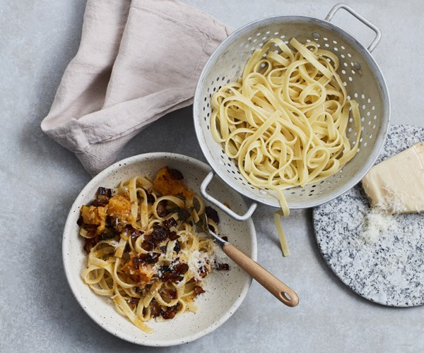 Tagliatelle with pumpkin, pancetta, chilli and sage