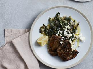 Greek lamb chops with braised silverbeet, feta and oregano