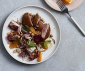 Orange, chickpea and crisp-skinned duck salad with mint
