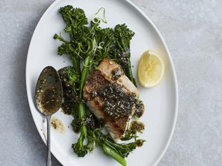 Snapper with broccolini and nori-miso butter