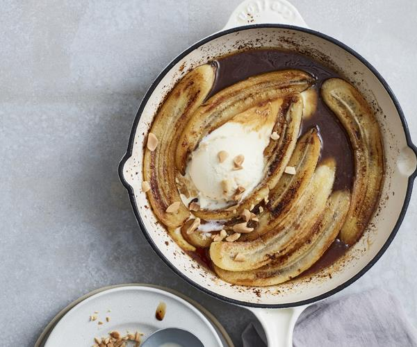 Pan-fried bananas with salted maple caramel and vanilla ice-cream