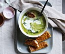 Broccoli soup and cheesy toast