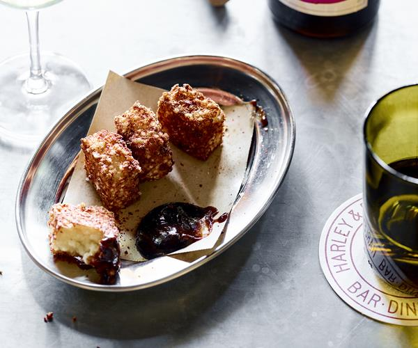 "**[Gorgonzola croquettes and quince ketchup](https://www.gourmettraveller.com.au/recipes/chefs-recipes/gorgonzola-croquettes-and-quince-ketchup-16080|target=""_blank"")**"