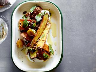 Roasted carrot salad, pepper sauce, olive oil and curd