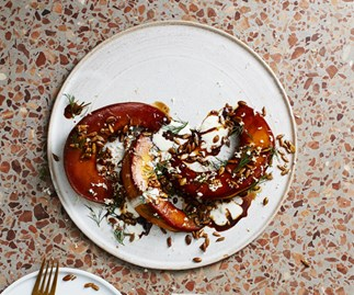 Tamari-roasted pumpkin, sunflower and horseradish