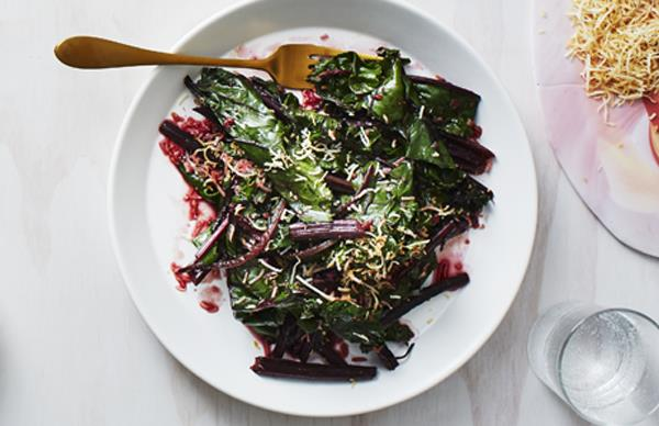Stir-fried beetroot leaves with coconut and spices