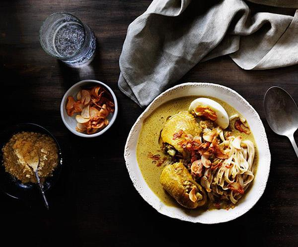 "**[Ohn no khao swè (Burmese curry chicken noodle soup)](https://www.gourmettraveller.com.au/recipes/browse-all/curry-chicken-noodle-soup-12298|target=""_blank"")**"