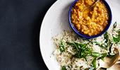 Jeera rice and dhal curry