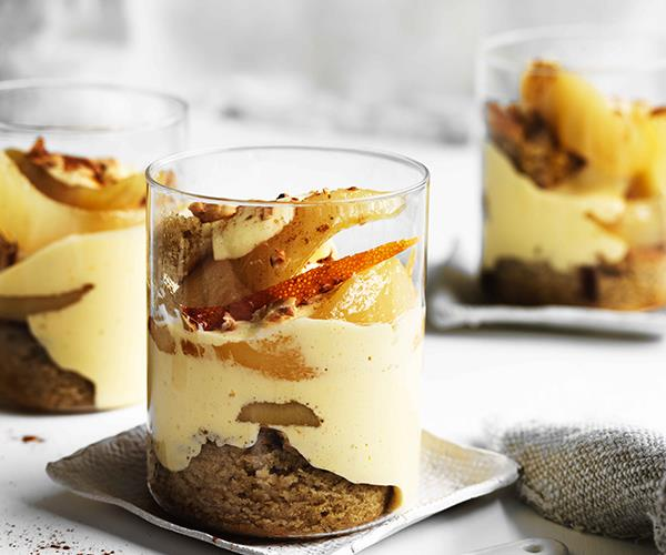 Warm pear and brandy winter trifle