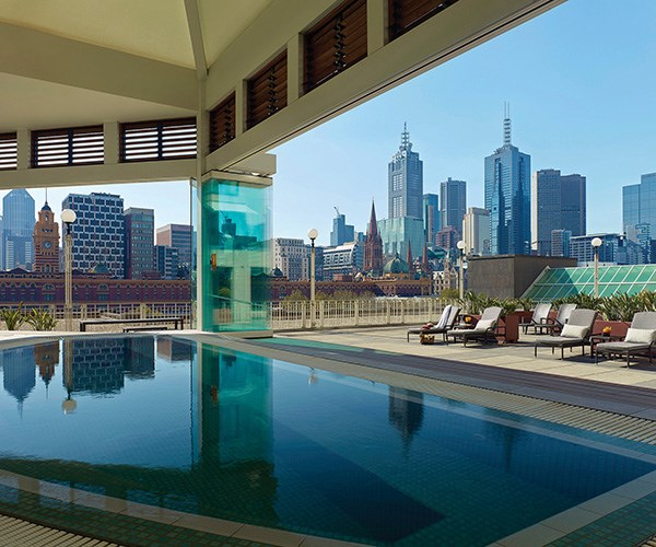 Pool and terrace at The Langham